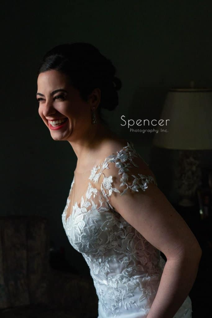 wedding picture of bride laughing