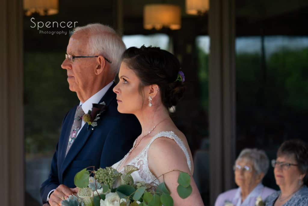 dad standing with bride at wedding ceremony Columbia Hills Country Club
