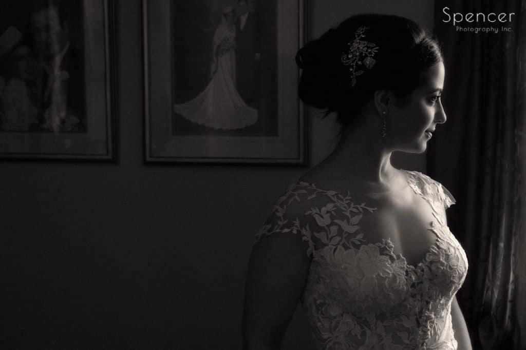 classic wedding picture of bride