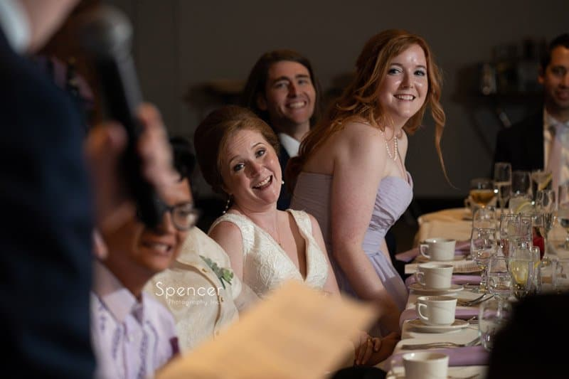 bride reacting to fathers speech at Windows on the River