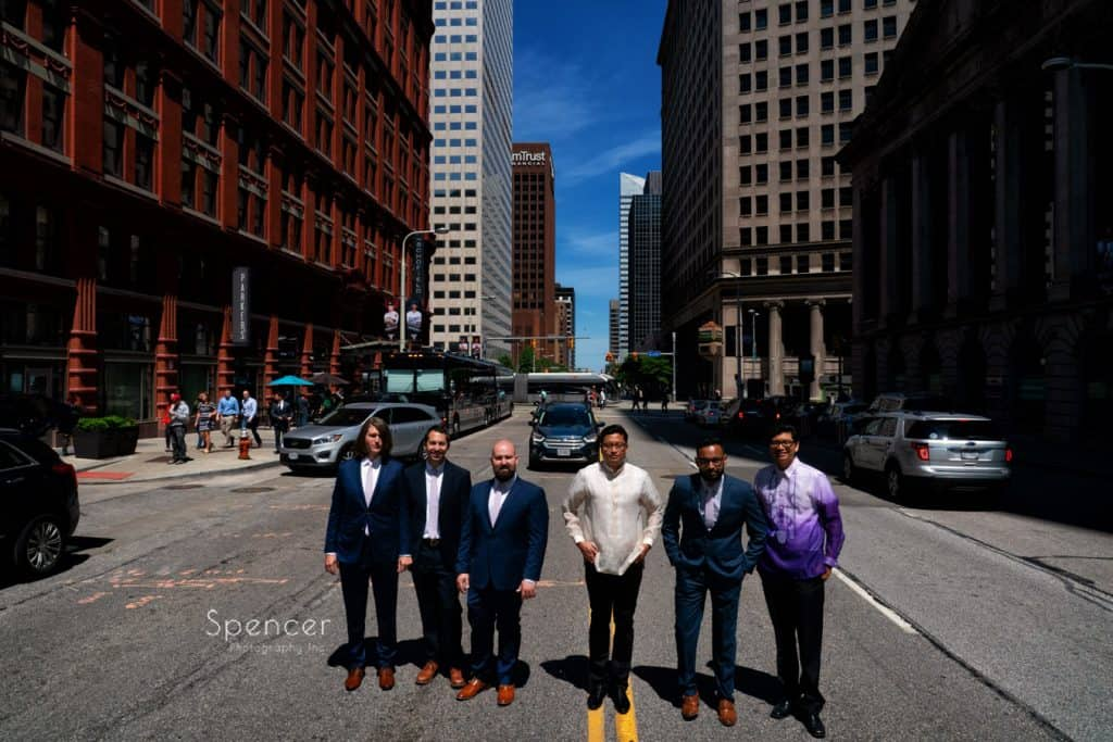 groomsmen in the middle of a Cleveland Street