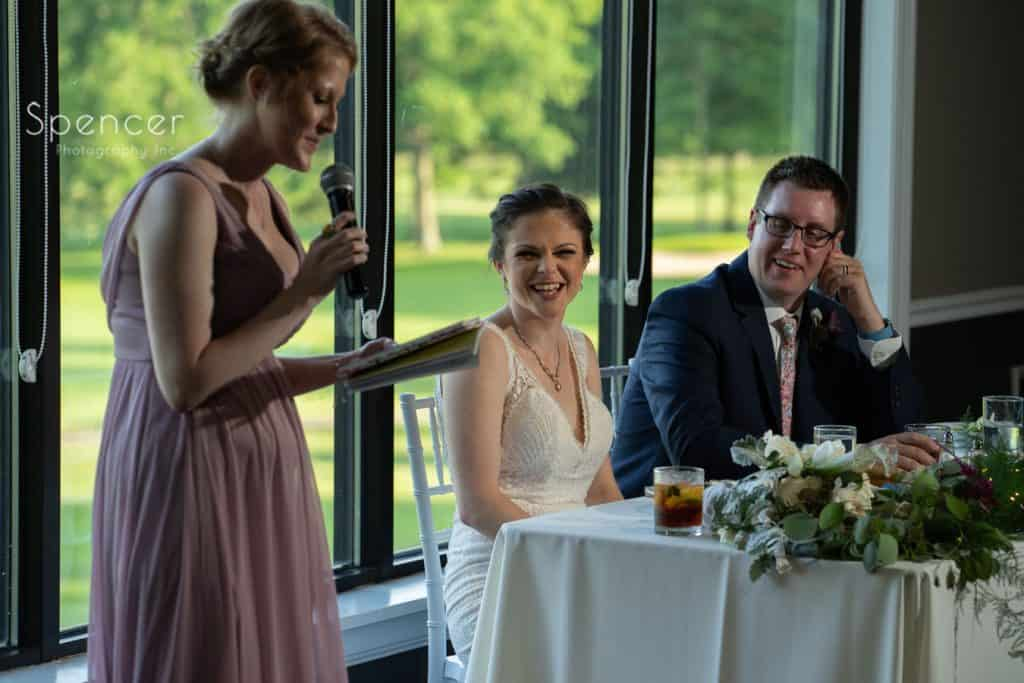 maid of honor speech at wedding reception at Columbia Hills