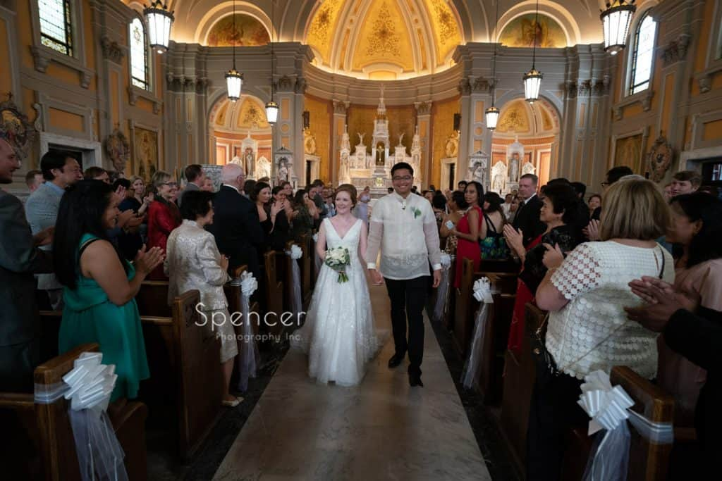 recessional at wedding ceremony at St. Coleman