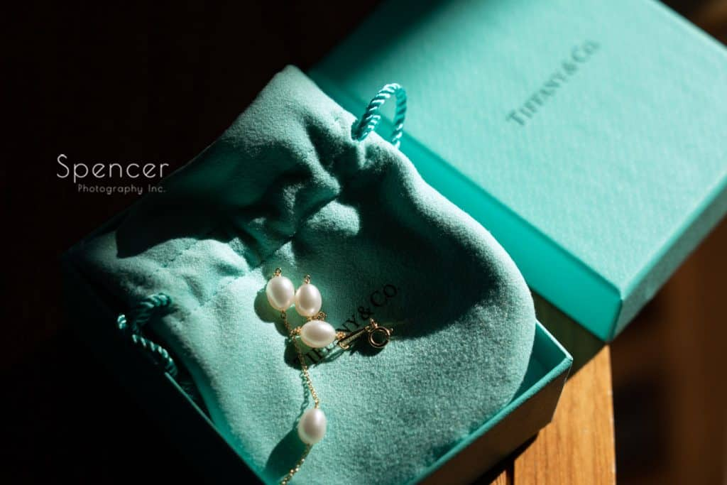 Tiffany necklace on wedding day at Kimpton Schofield Hotel