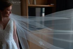 wedding picture of bride's veil at Kimpton Schofield