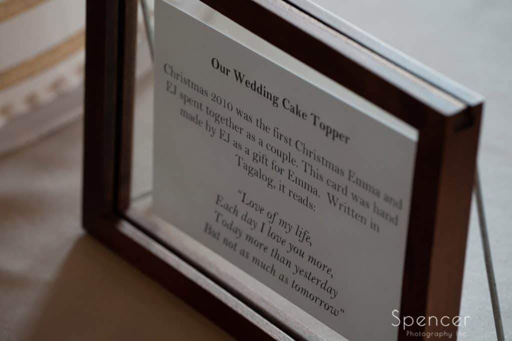 wedding reception detail at Windows on the River