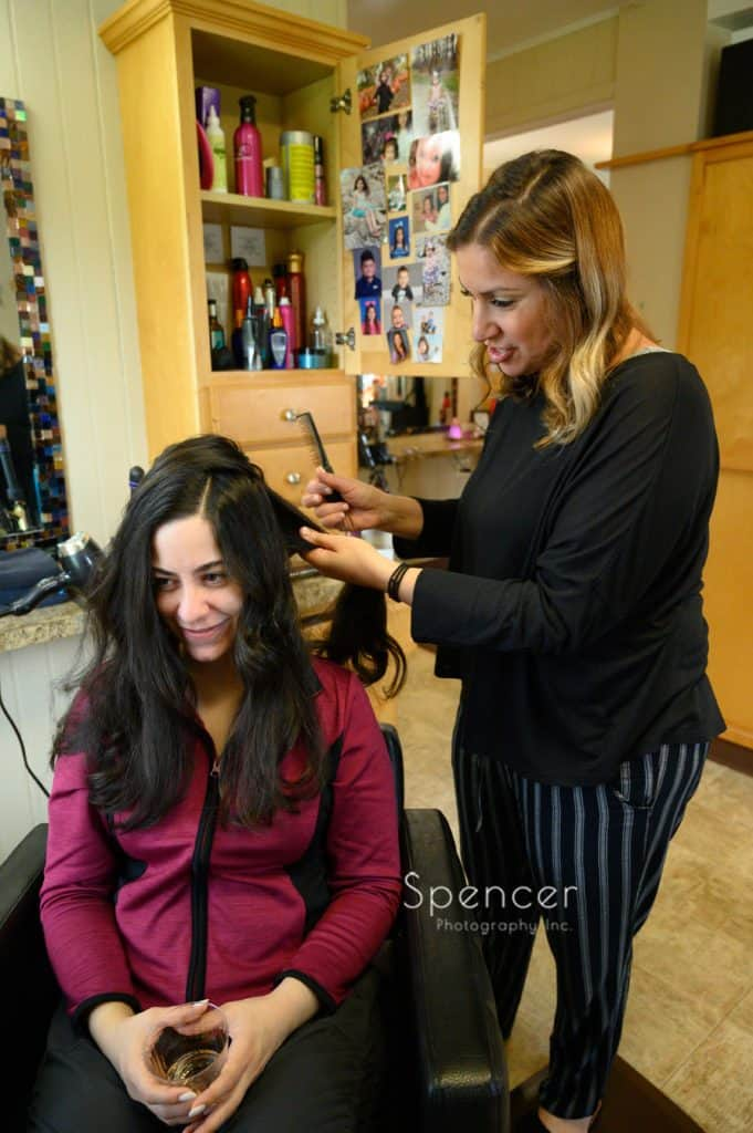 bride getting hair done at Turning Heads Salon Youngstown