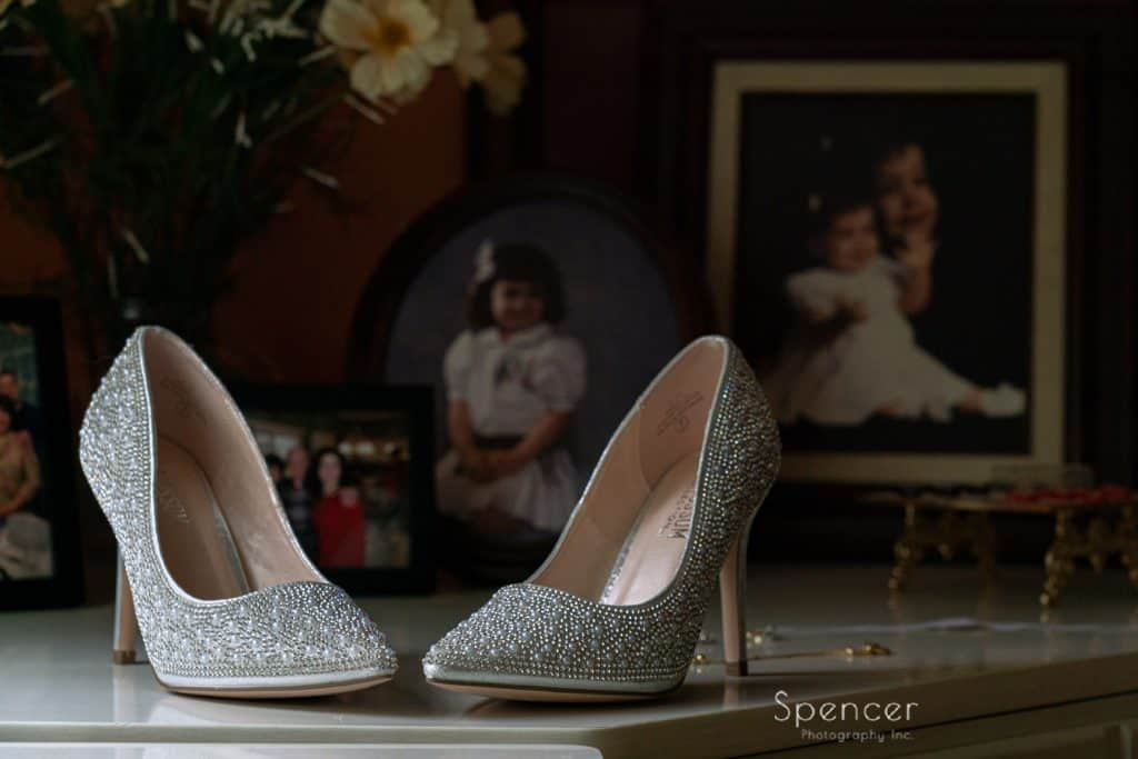 brides wedding shoes at her home in Youngstown