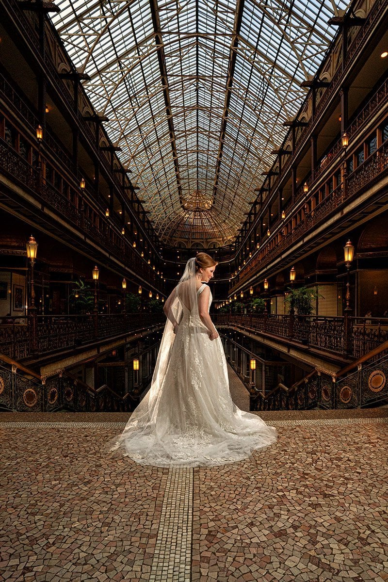 beautiful wedding picture of bride in Cleveland Arcade