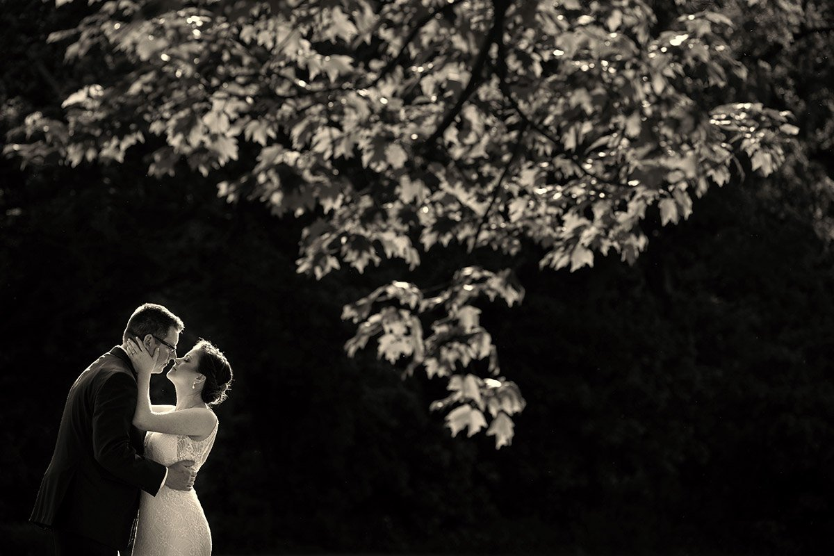 dramatic sepia picture of bride and groom kissing
