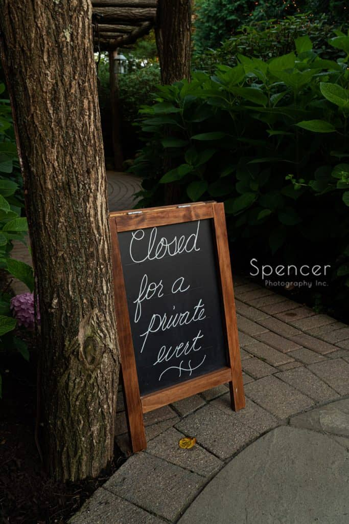 sign greeting guest at wedding reception at Thorncreek Winery