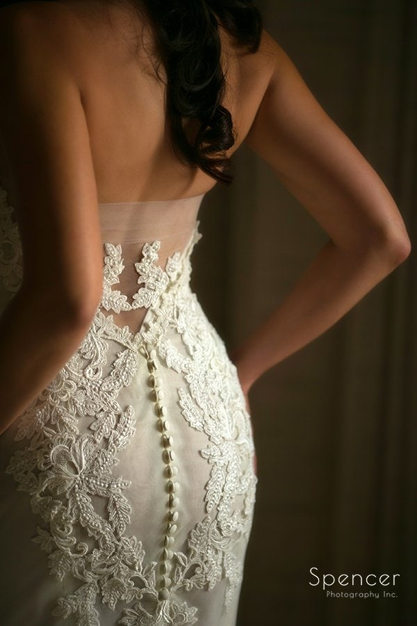 detail picture of brides wedding dress before Landerhaven ceremony