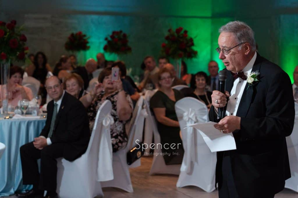 father of bride giving reception speech at St. Demetrios