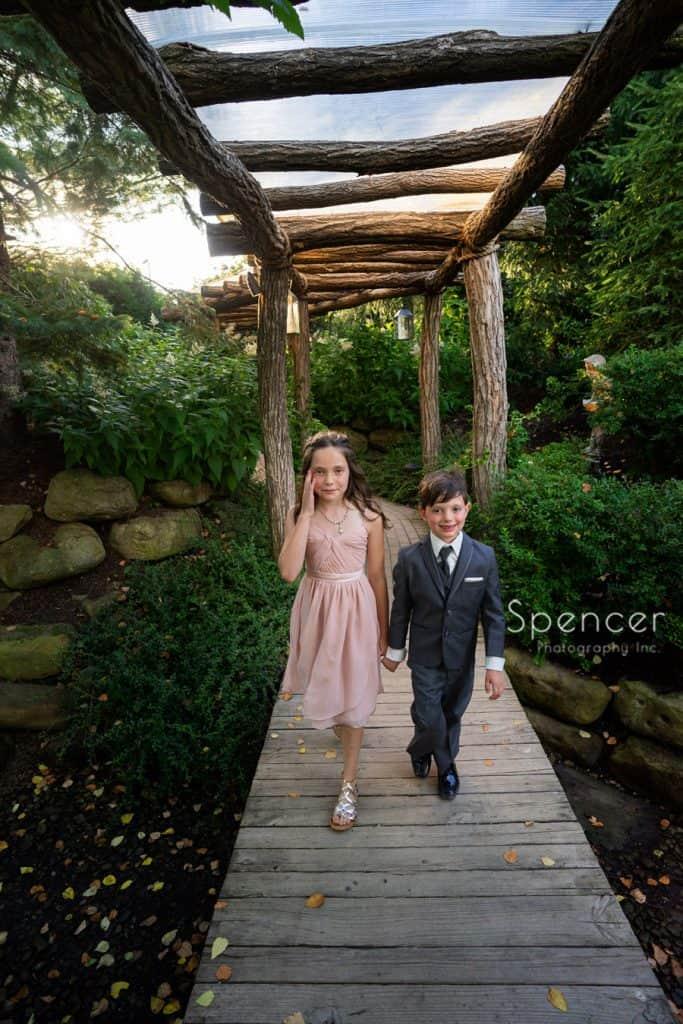 kids entering wedding reception at Thorncreek Winery