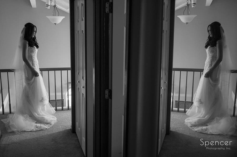 wedding picture of bride and her reflection