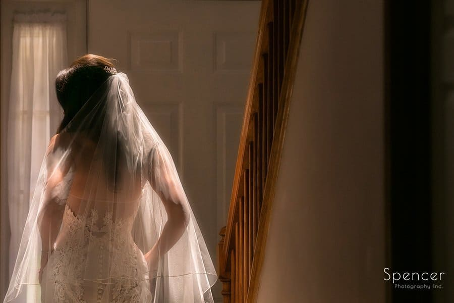 beauifully lit wedding day picture of bride at Landerhaven