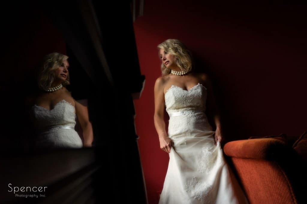 wedding picture of bride in suite at the Bertram Inn