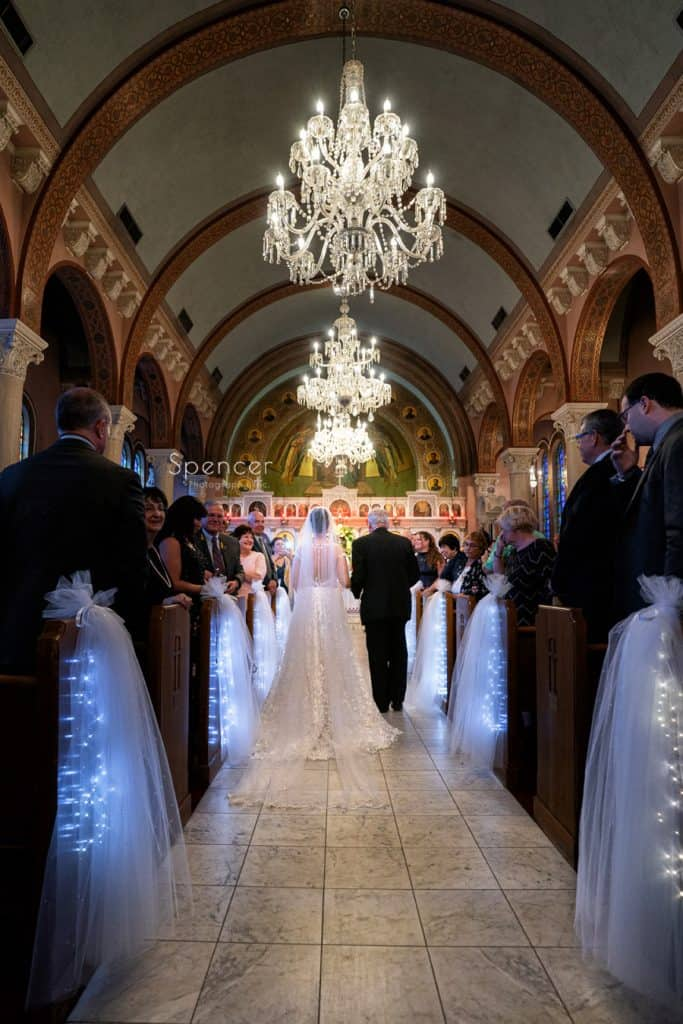 dad walks bride down aisle at St. Demetrios