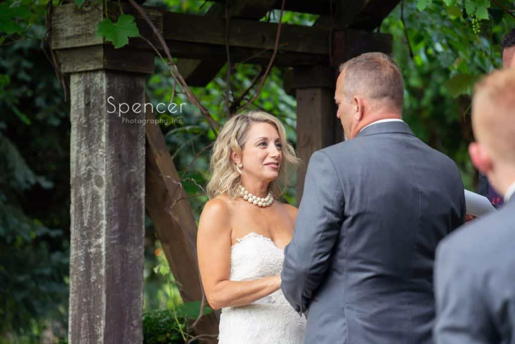 bride reading wedding vows at Thorncreek Winery