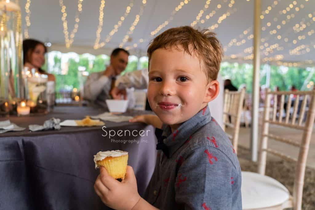 little boy eating cupcake at Thorncreek
