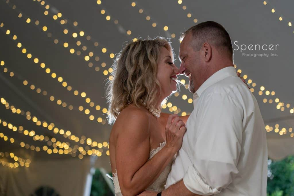 bride and groom laughing during first dance at Thorncreek reception