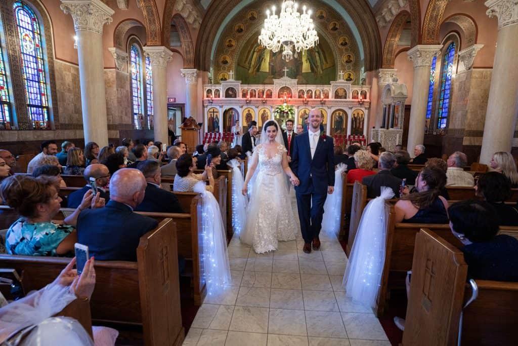recessional at St. Demetrios greek wedding ceremony