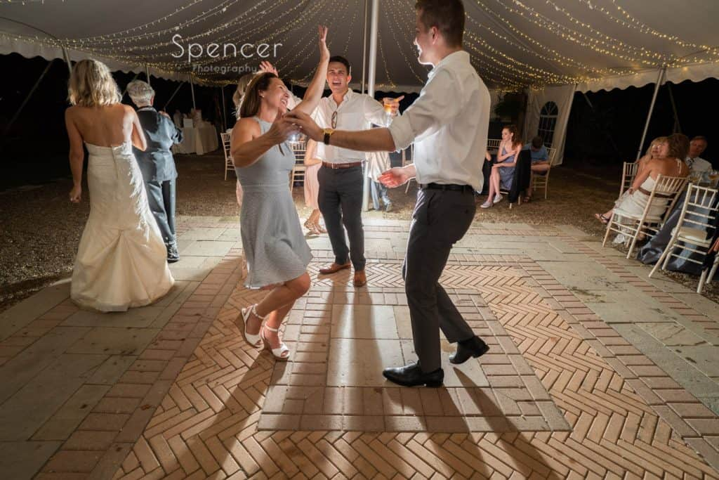 guests dancing at wedding reception at Thorncreek Winery and Gardens