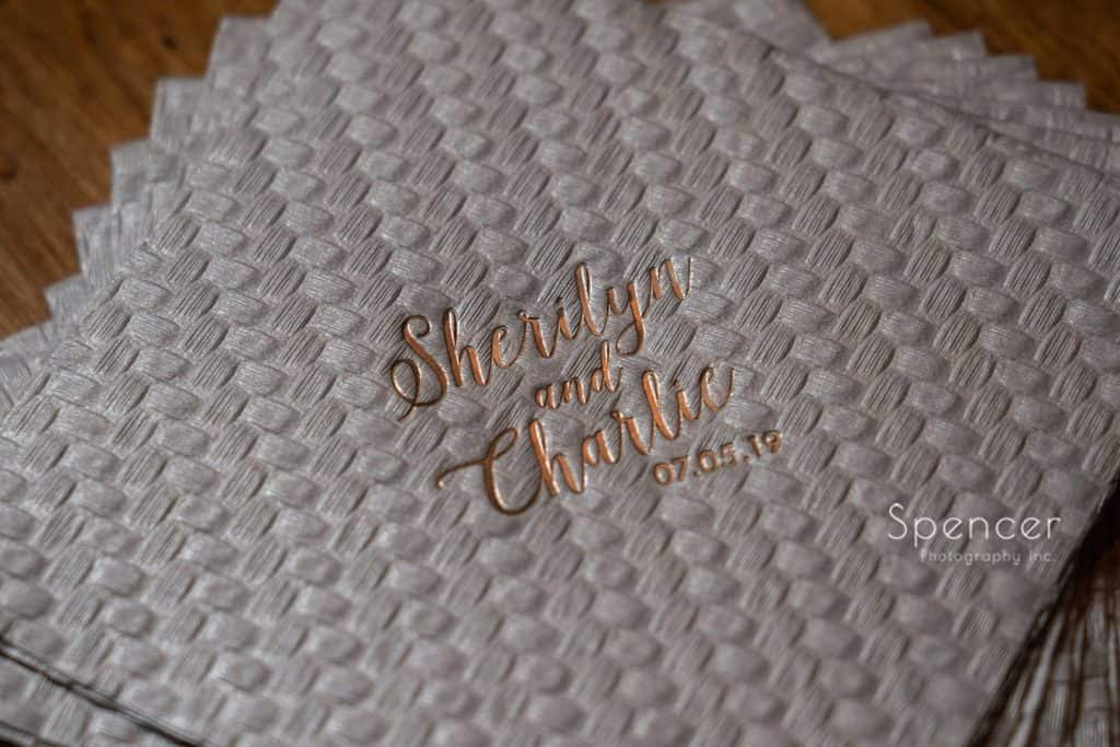 wine napkin at wedding ceremony at Thorncreek winery