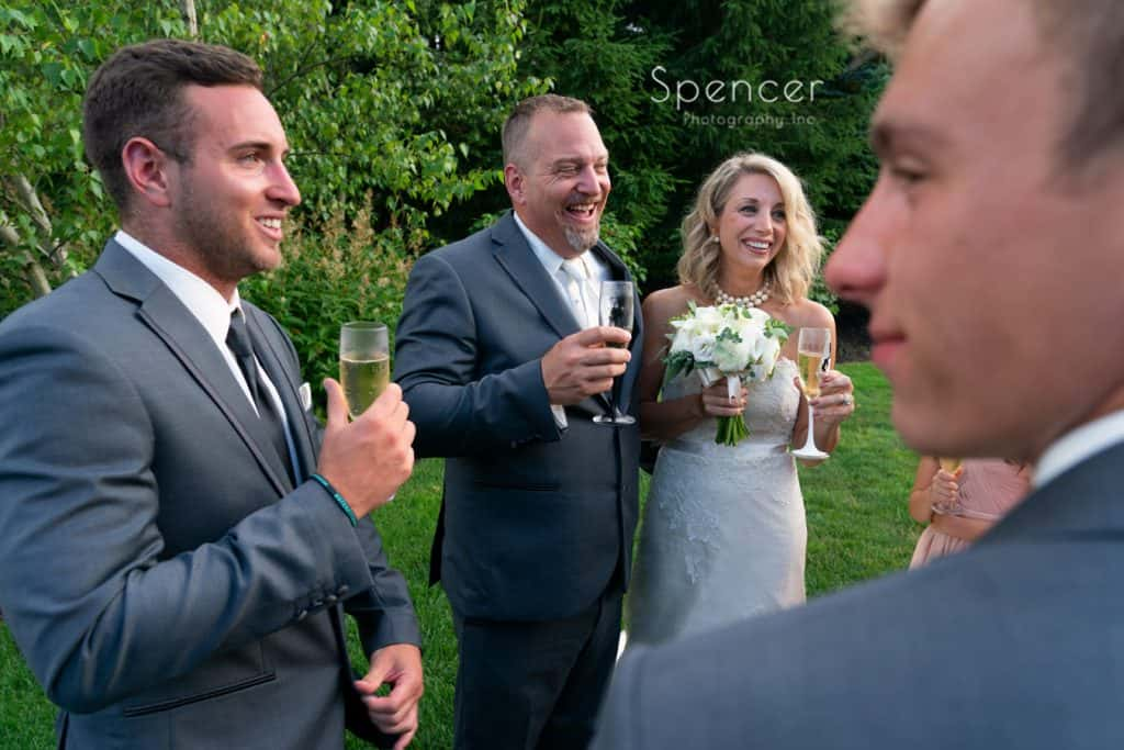 bride and groom laughing after ceremony at Thorncreek Winery