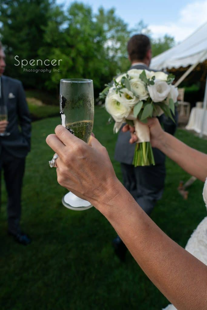 champagne glass of bride at Thorncreek Winery