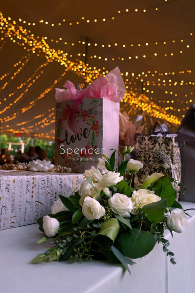 The Red Twig Bouquet at wedding gift table at Thorncreek