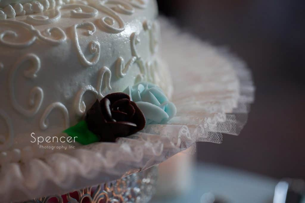 wedding cake detail at reception at St. Demetrios Banquet Facilities