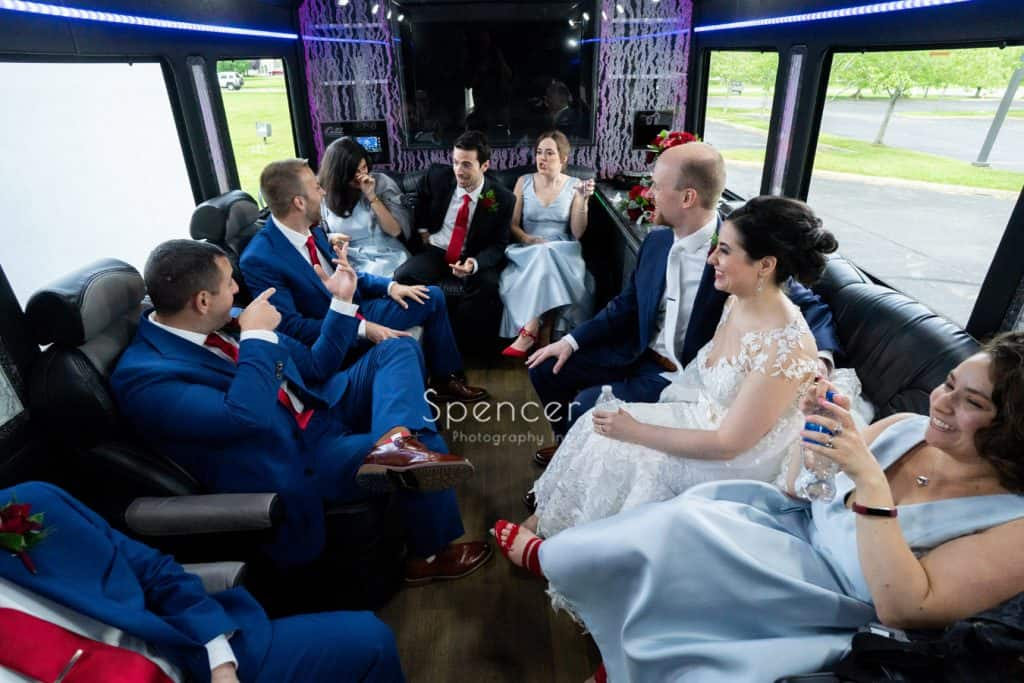 wedding party in party bus in Youngstown