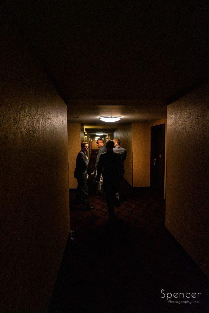 groomsmen leaving for wedding at The Bertram Inn