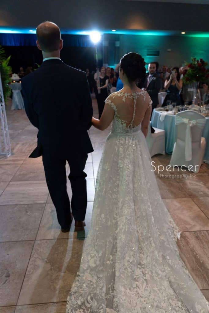 bride and groom enter their wedding reception St. Demetrios Banquet Facilities