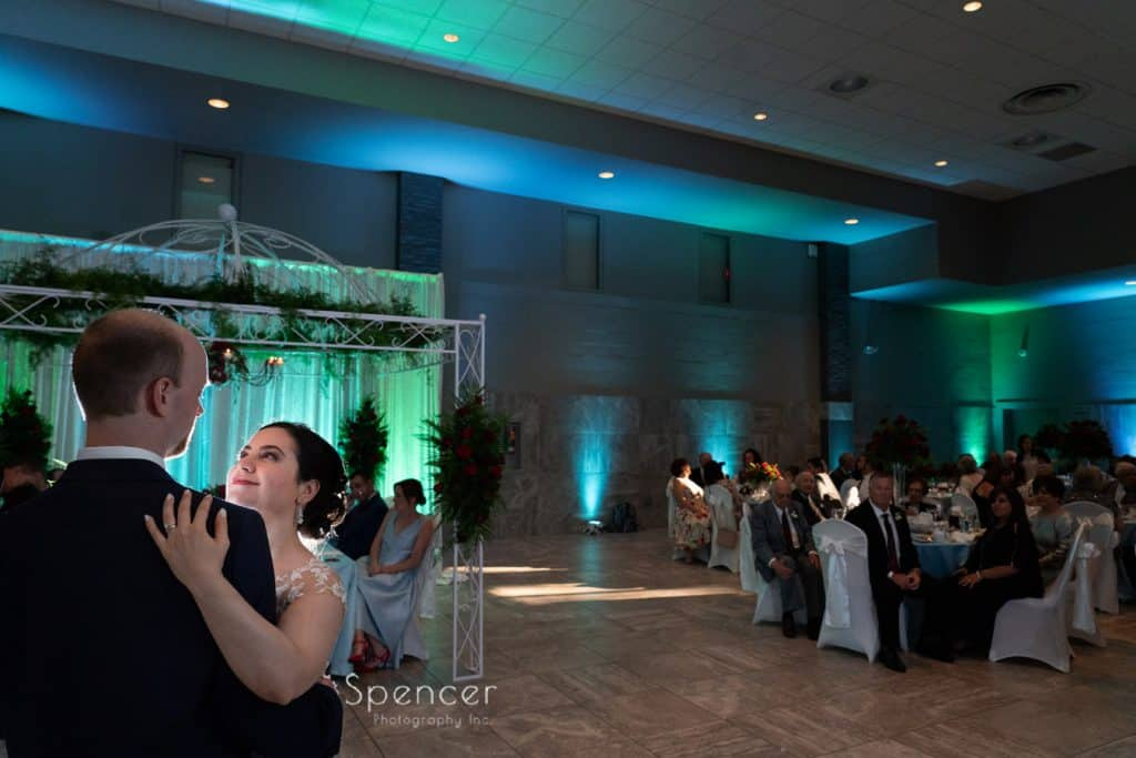 bride and groom during first dance atSt. Demetrios Banquet Facilities