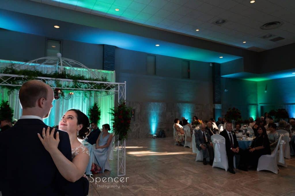 bride and groom during first dance atSt. Demetrios Banquet Facilities