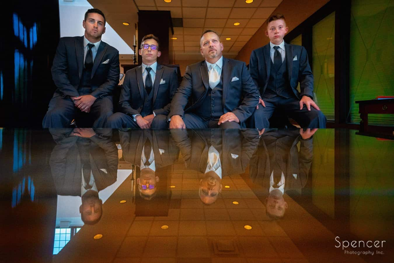 wedding day picture of groomsmen at the Bertram Inn