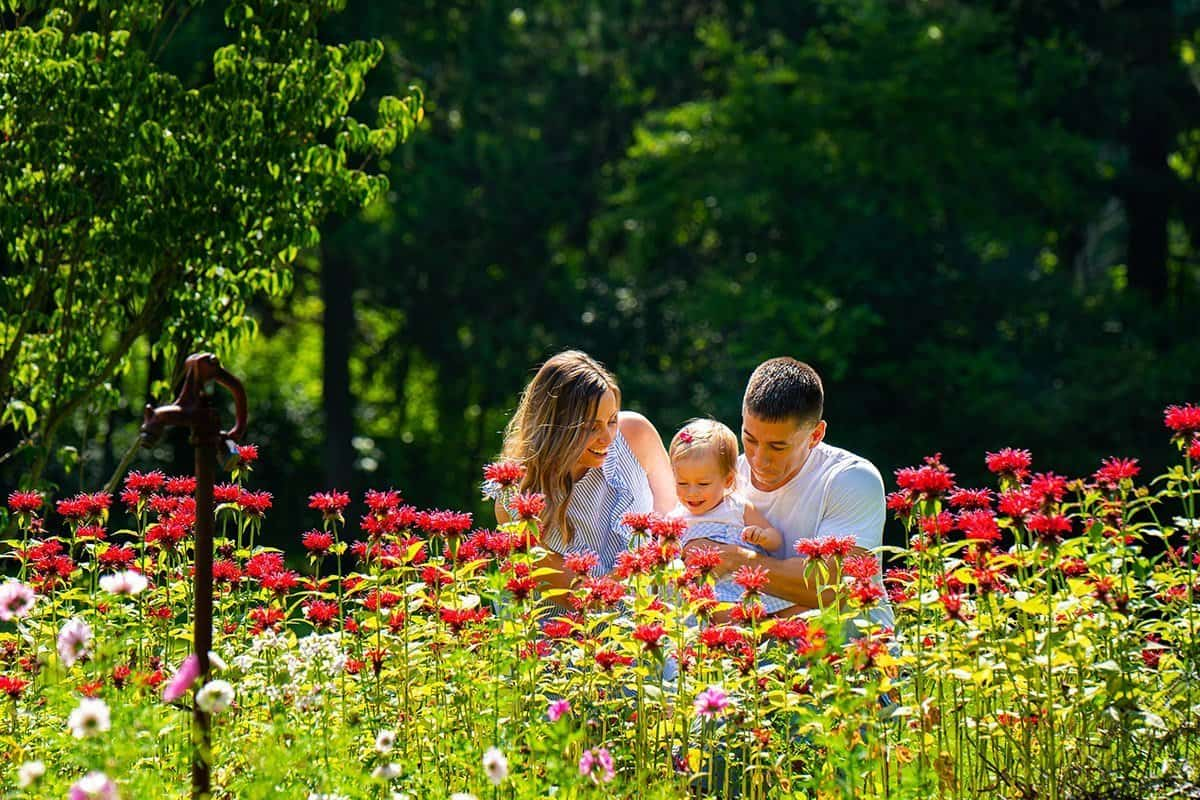 family picture in flower garden