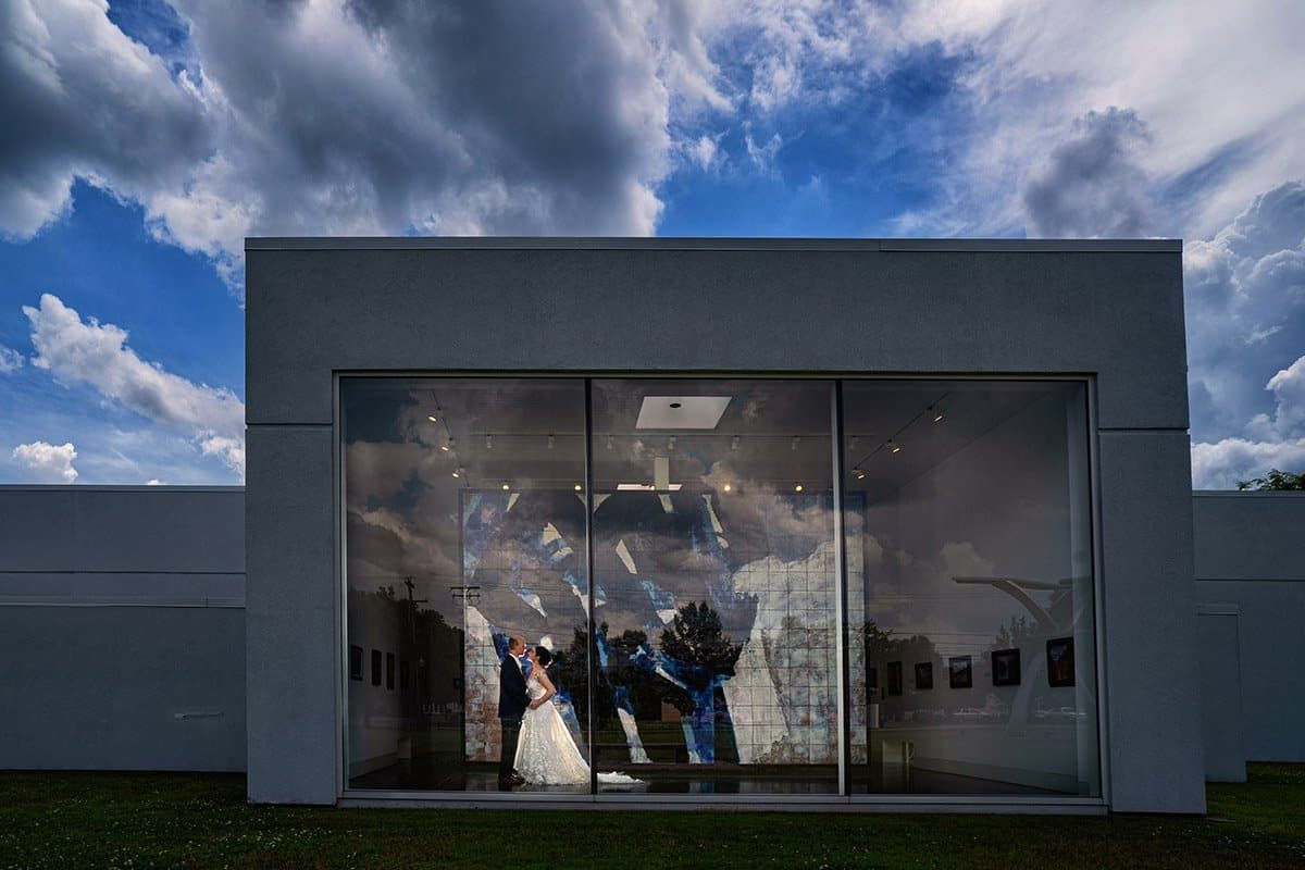 artistic wedding picture at art museum