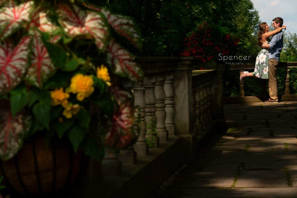engagement pictures on overlook at Stan Hywet Gardens
