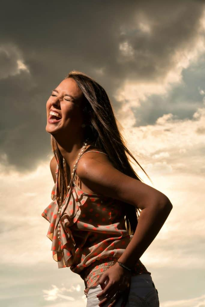 Cleveland high school senior picture of girl laughing