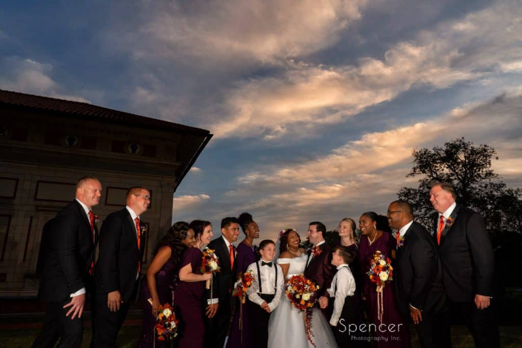 wedding picture of bridal party at Allen Memorial Art Museum