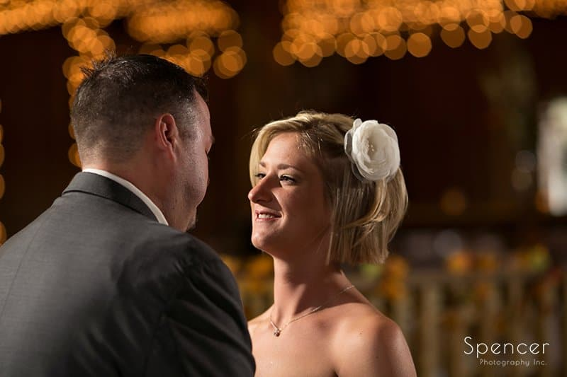 bride smiling at groom on wedding day at Brookside Farm