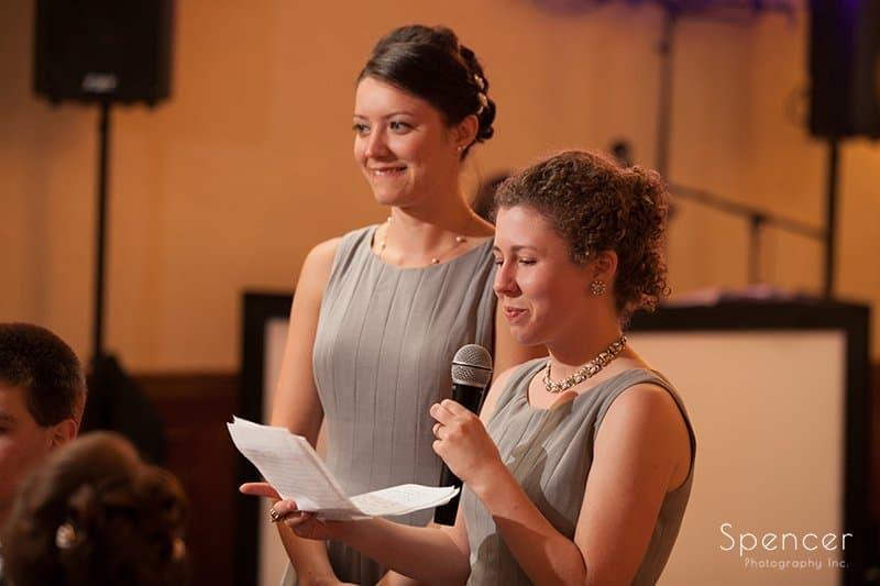 maid of honor giving speech at wedding reception at Caro's in Medina Ohio