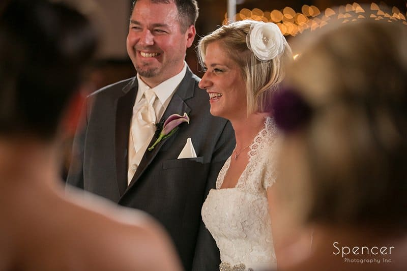 bride smiling during wedding cermony at Brookside Farm