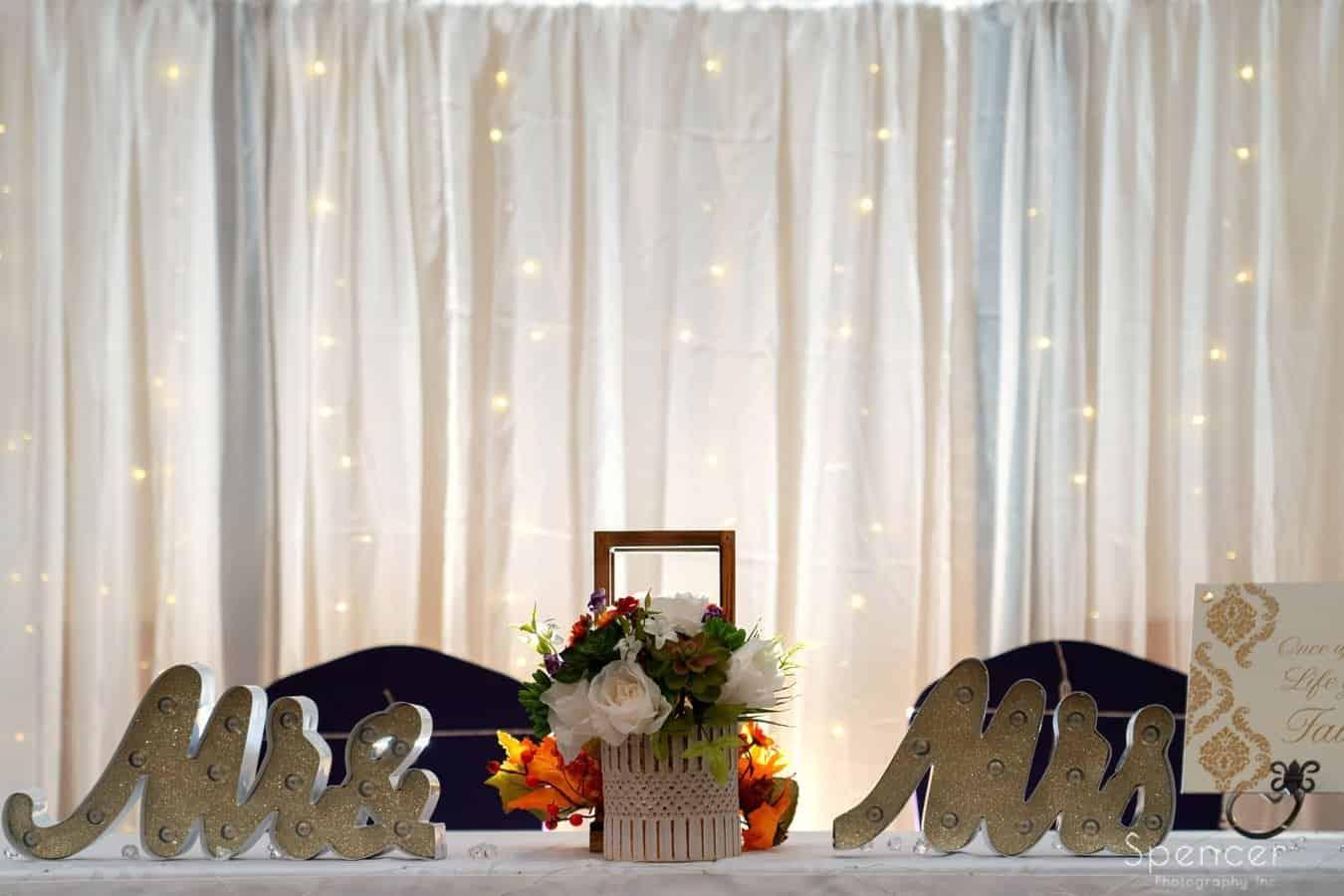 head table at wedding reception at Lodge at New Russia Township