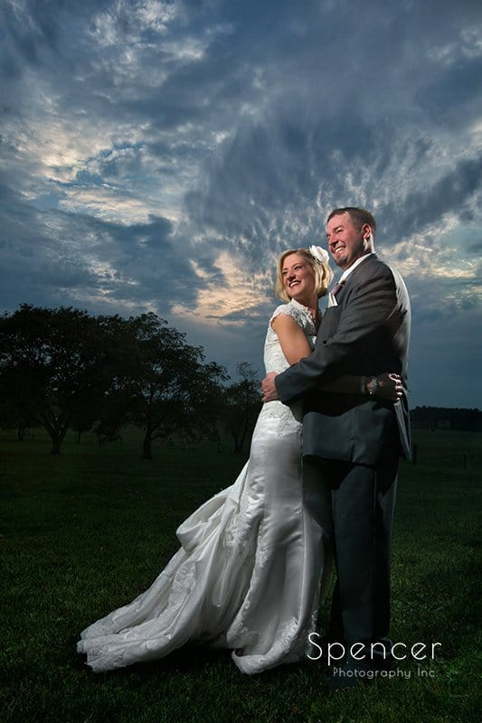 fall wedding picture of bride and groom at Brookside Farm