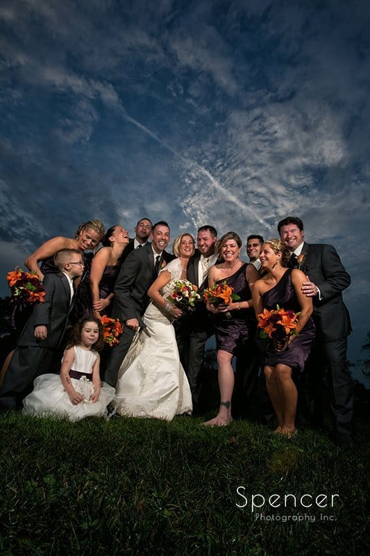 fall wedding picture of bridal party at Brookside Farm