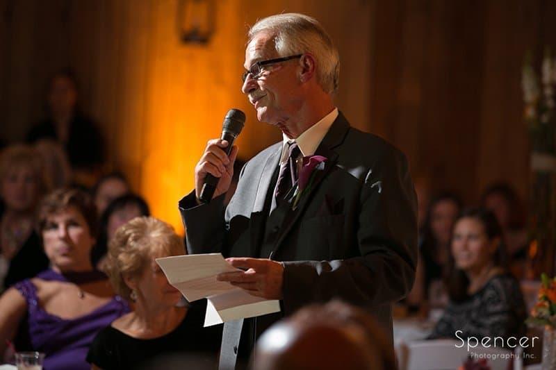 dad giving wedding reception speech at Brookside Farm